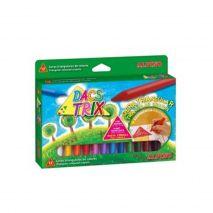 Creioane cerate soft, triunghilare, cutie carton, 12 culori/cutie, ALPINO DacsTrix