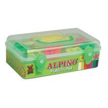 Kit 7 culori x 90gr plastilina + 7 forme modelaj + roller, ALPINO