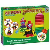 Kit 12 culori plastilina + 4 seturi accesorii, ALPINO Monsters