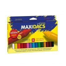 Creioane cerate soft, cutie carton, 15 culori/cutie, ALPINO MaxiDacs