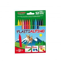 Creioane cerate din plastic, cutie carton, 12 culori/cutie, Plasti ALPINO