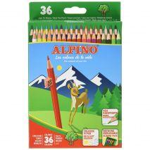 Creioane colorate, cutie carton, 36 culori/set, ALPINO