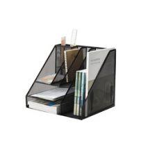 Suport metalic pentru accesorii de birou, 7 compartimente, Mesh