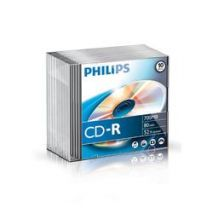 CD-R , 700MB, 52X, carcasa slim, PHILIPS
