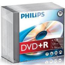 DVD+R , 4.7GB, 16X, carcasa slim, PHILIPS
