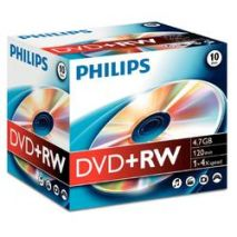 DVD+RW , 4.7GB, 4X, carcasa jewel, PHILIPS