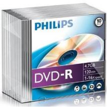 DVD-R , 4.7GB, 16X, carcasa slim, PHILIPS