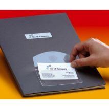 Buzunar autoadeziv pt carti de vizita, cu clapa, acces vertical, 105 x 60mm, 10/set, PROBECO