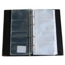Clasor extensibil cu 4 inele, pentru 80 carti de vizita, negru, Kangaro