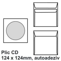 Plic CD, 124 x 124mm, autoadeziv, alb, 90 g/mp, 25 buc/set