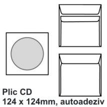 Plic CD, 124 x 124mm, autoadeziv, alb, 90 g/mp, 25 buc/set