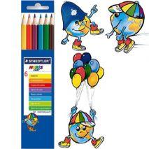 Creioane colorate, 1/1, 6 culori/set, STAEDTLER Noris Club