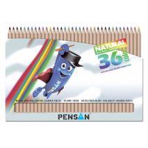 Creioane colorate, 1/1, lemn natur, 36 culori/set, PENSAN