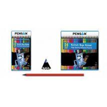 Creioane colorate, 1/1, lemn negru, 12 culori/set, PENSAN