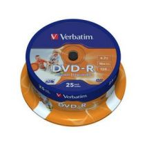 DVD-R , 4.7GB, 16X, 25 buc/bulk, printabil, VERBATIM Wide Photo Printable - ID Branded
