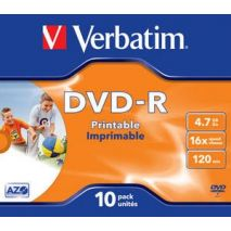 DVD+R , 4.7GB, 16X, carcasa jewel, printabil, VERBATIM Wide Photo Printable - ID Branded