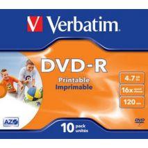 DVD+R , 4.7GB, 16X, carcasa jewel, printabil, VERBATIM Wide Photo Printable - ID Branded