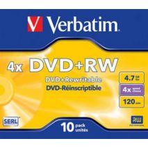 DVD+RW , 4.7GB, 4X, carcasa jewel, VERBATIM Matt Silver