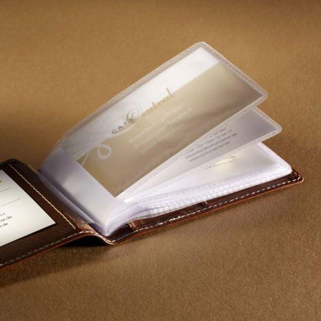 Mapa din piele maro fina, pentru 40 carti vizita sau carduri, SIGEL Siena