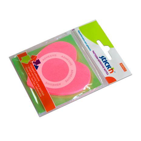 "Notes autoadeziv 360, 70 x 70 mm, 50 file, Stick""n - inima - roz neon"
