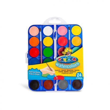 Acuarele lavabile, 24 culori/cutie + 2 pensule, CARIOCA