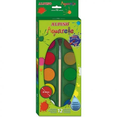Acuarele 12 culori/cutie + 1 pensula gratis, Alpino