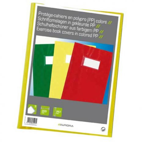 Coperta PP - 120 microni, cu eticheta, pentru caiet A4, 3 buc/set, AURORA - culori asortate