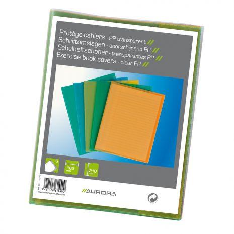 Coperta PP - 120 microni, pentru caiet A5, 5 buc/set, AURORA - transparent color asortate