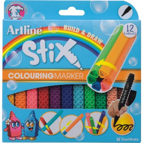 Marker pentru colorat ARTLINE Stix, varf rotund 1.2mm, lavabil, 12 buc/cutie