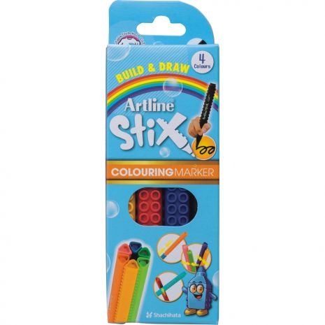 Marker pentru colorat ARTLINE Stix, varf rotund 1.2mm, lavabil, 4 buc/cutie