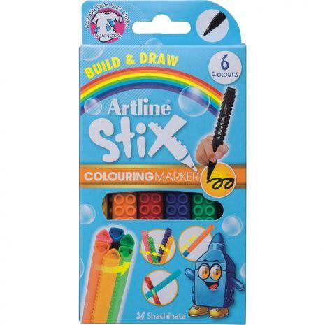 Marker pentru colorat ARTLINE Stix, varf rotund 1.2mm, lavabil, 6 buc/cutie