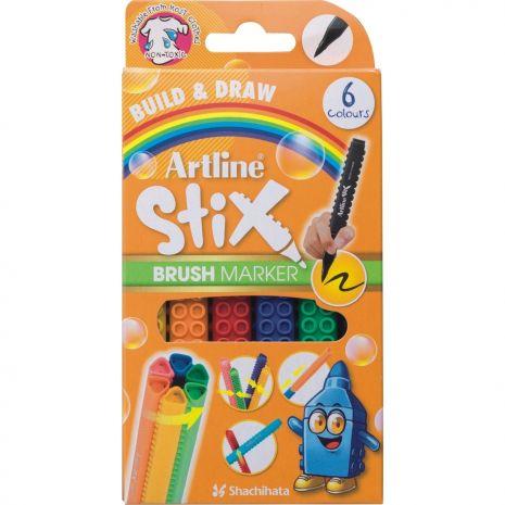 Marker pentru colorat ARTLINE Stix, varf flexibil (tip pensula), lavabil, 6 buc/cutie