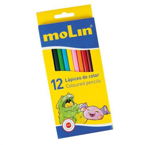 Creioane colorate, corp hexagonal, 12 culori/set, MOLIN Color Plus