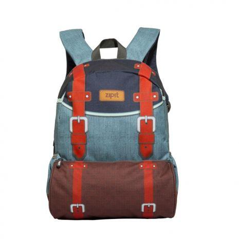 Rucsac ZIP..IT Adventure Blue Vintage, cu buzunare laterale - EAN 7290106148475
