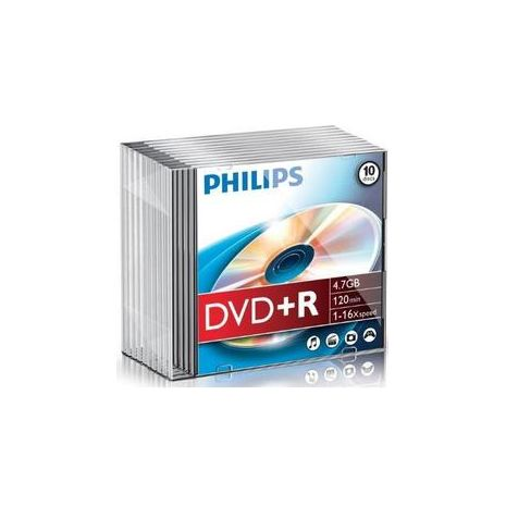 DVD+R , 4.7GB, 16X, carcasa slim, PHILIPS