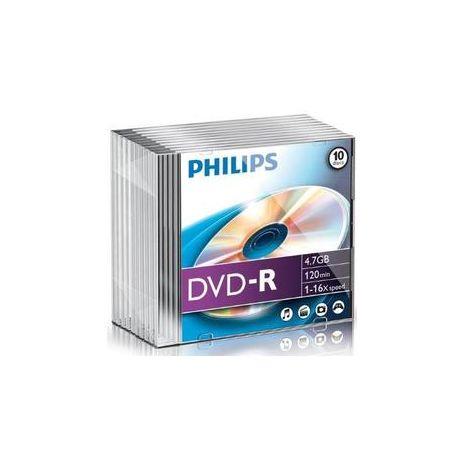 DVD-R , 4.7GB, 16X, carcasa slim, PHILIPS