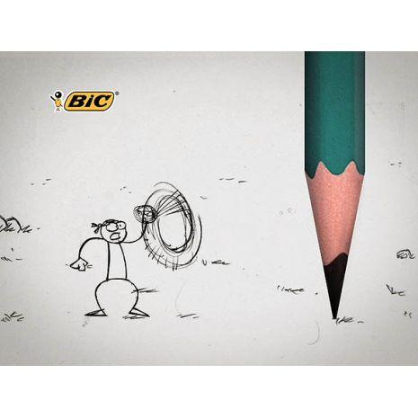 Creion cu mina grafit, HB, cu radiera, hexagonal, BIC Evolution