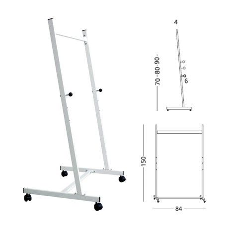Stand metalic pentru table, 140cm lungime, 150cm inaltime, pe rotile, 3 pozitii fixe, SMIT