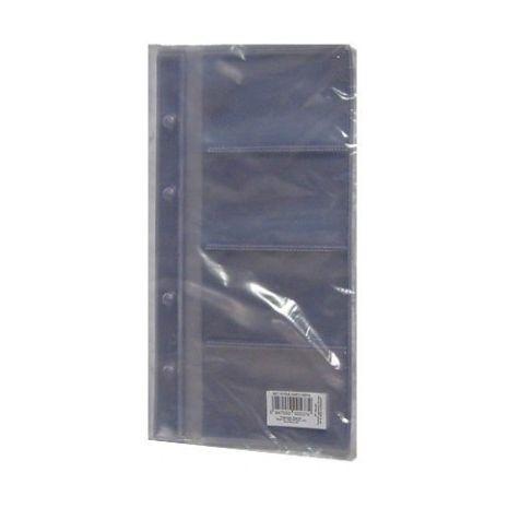 Rezerve din plastic pentru 8 carti de vizita pentru mape 2/A4 cu 4 inele, 10 file/set