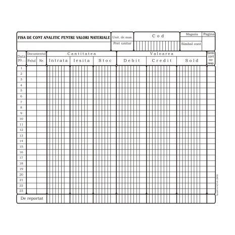Fisa cont analitic pentru valori materiale, A4, tipar fata/verso, 170 g/mp