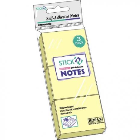Notes autoadeziv, 38 x 51mm, 100 file/set, 3 seturi/set, HOPAX