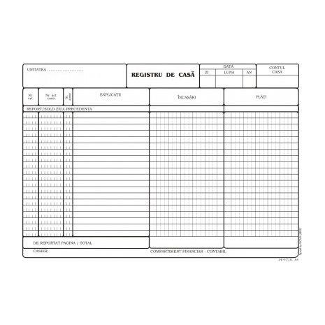 Registru de casa, A4, tipar fata, 100 file/carnet