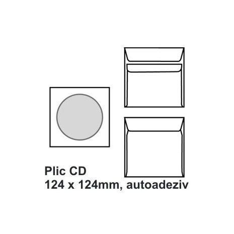 Plic CD, 124 x 124mm, autoadeziv, alb, 90 g/mp, 1000 buc/cutie