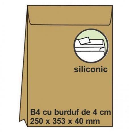 Plic B4, 250 x 353 x 50mm (burduf), siliconic, kraft, 120 g/mp