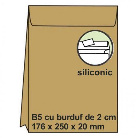 Plic B5, 176 x 250 x 20mm (burduf), siliconic, kraft, 120 g/mp