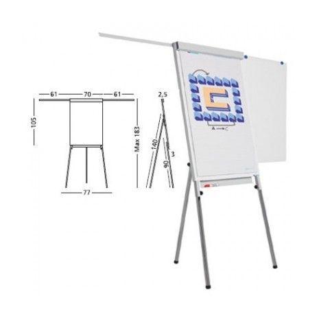 Flipchart magnetic cu brate extensibile, 70 x 105cm, SMIT VISUAL Standard Plus