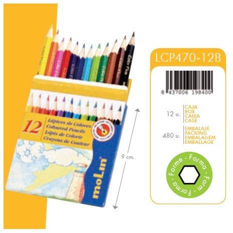 Creioane colorate, 1/2, 12 culori/set, MOLIN Color Plus