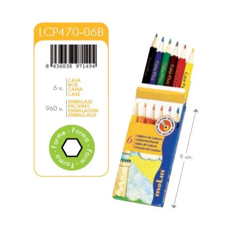 Creioane colorate, 1/2, 6 culori/set, MOLIN Color Plus